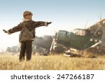 young aviator parked aircraft... | Shutterstock . vector #247266187