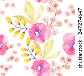 watercolor flower seamless... | Shutterstock .eps vector #247274647