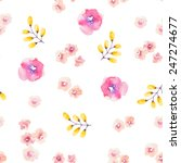 watercolor flower seamless...   Shutterstock .eps vector #247274677