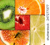 tasty fruits in colorful collage | Shutterstock . vector #247277377