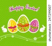 happy easter with eggs and bunny | Shutterstock .eps vector #247299007