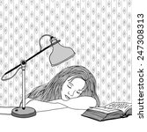 drawing of a young woman asleep ... | Shutterstock .eps vector #247308313