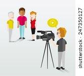 people filming using video... | Shutterstock .eps vector #247350127