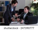 horizontal view of boss yelling ...   Shutterstock . vector #247390777