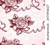 romantic seamless with roses... | Shutterstock .eps vector #247393627