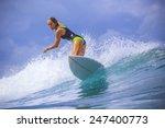 surfer girl on amazing blue... | Shutterstock . vector #247400773
