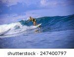 surfer girl on amazing blue... | Shutterstock . vector #247400797