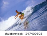 surfer girl on amazing blue... | Shutterstock . vector #247400803