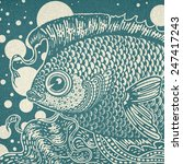vintage graphic fish in two... | Shutterstock . vector #247417243
