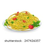 pasta with tomato on a plate on ... | Shutterstock .eps vector #247426357
