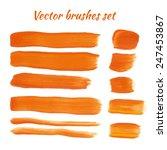 set of orange acrylic brush... | Shutterstock .eps vector #247453867