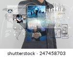 businessman working on virtual... | Shutterstock . vector #247458703