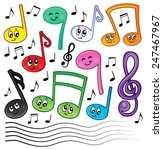 cartoon music notes theme image ...