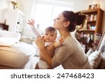 cute little baby girl getting...   Shutterstock . vector #247468423