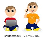 teenager using smartphone and... | Shutterstock .eps vector #247488403