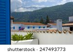 view with white buildings and...   Shutterstock . vector #247493773