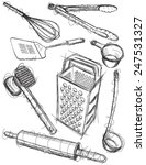 kitchen utensil sketches... | Shutterstock .eps vector #247531327