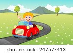 cartoon boy driving red car
