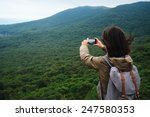 hiker young woman with backpack ... | Shutterstock . vector #247580353