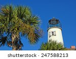 Lighthouse With Palm Tree On S...