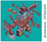 vector machine of  robot... | Shutterstock .eps vector #247631353