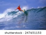 surfer on amazing blue wave ... | Shutterstock . vector #247651153