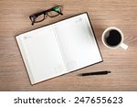 blank notepad and coffee cup on ... | Shutterstock . vector #247655623