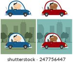 smiling manager driving car to... | Shutterstock .eps vector #247756447