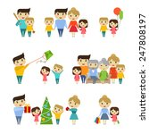 set of the happy family flat... | Shutterstock .eps vector #247808197