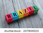 word brazil on colorful wooden... | Shutterstock . vector #247844023