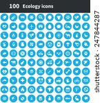100 ecology icons  blue circle... | Shutterstock . vector #247844287