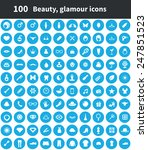 100 beauty icons  blue circle... | Shutterstock . vector #247851523