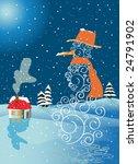snowman with winter landscape | Shutterstock .eps vector #24791902