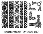 Stock vector set of celtic patterns and celtic ornament corners in black vector illustration 248021107