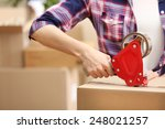 packing boxes close up | Shutterstock . vector #248021257