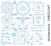 winter decor set.swirl border... | Shutterstock .eps vector #248021347