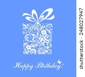 birthday card. celebration blue ... | Shutterstock . vector #248027947