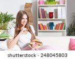 happy woman breaks diet