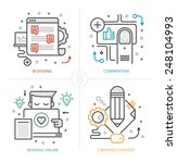 set of modern linear icons of... | Shutterstock .eps vector #248104993