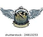 wings surf emblem whit ribbon | Shutterstock .eps vector #24813253