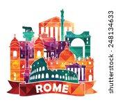 rome skyline. vector... | Shutterstock .eps vector #248134633