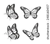Set Of Silhouette Butterflies...