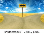 Two Roads  Road Sign Ahead Wit...