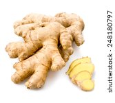 Small photo of Fresh sliced ginger isolated on white background