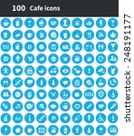 100 cafe icons  blue circle... | Shutterstock . vector #248191177