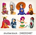 set of girls of different... | Shutterstock .eps vector #248202487