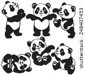 Set With Cartoon Panda Bear  ...