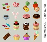 sweets icons set in flat style. ... | Shutterstock .eps vector #248416393