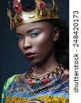 dark skinned girl in a massive... | Shutterstock . vector #248420173
