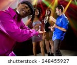 laughing at a man getting... | Shutterstock . vector #248455927
